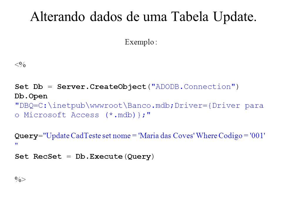 Alterando dados de uma Tabela Update. Exemplo : <% Set Db = Server.CreateObject(