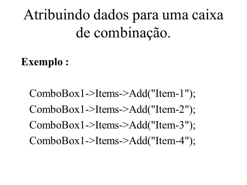 Atribuindo dados para uma caixa de combinação.