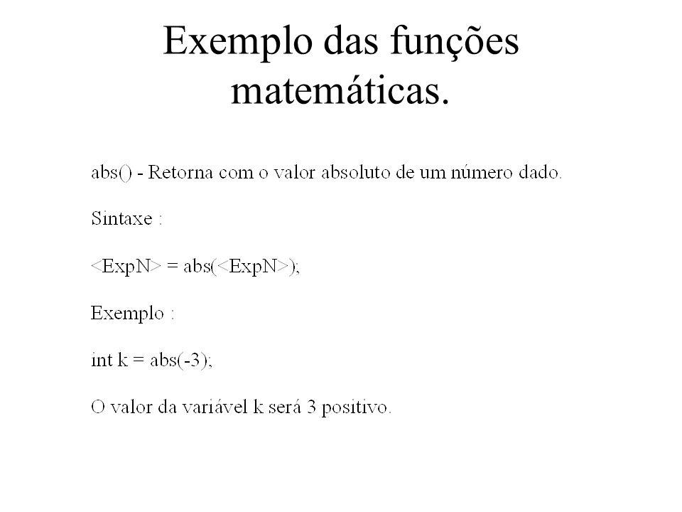 Exemplo das funções matemáticas.