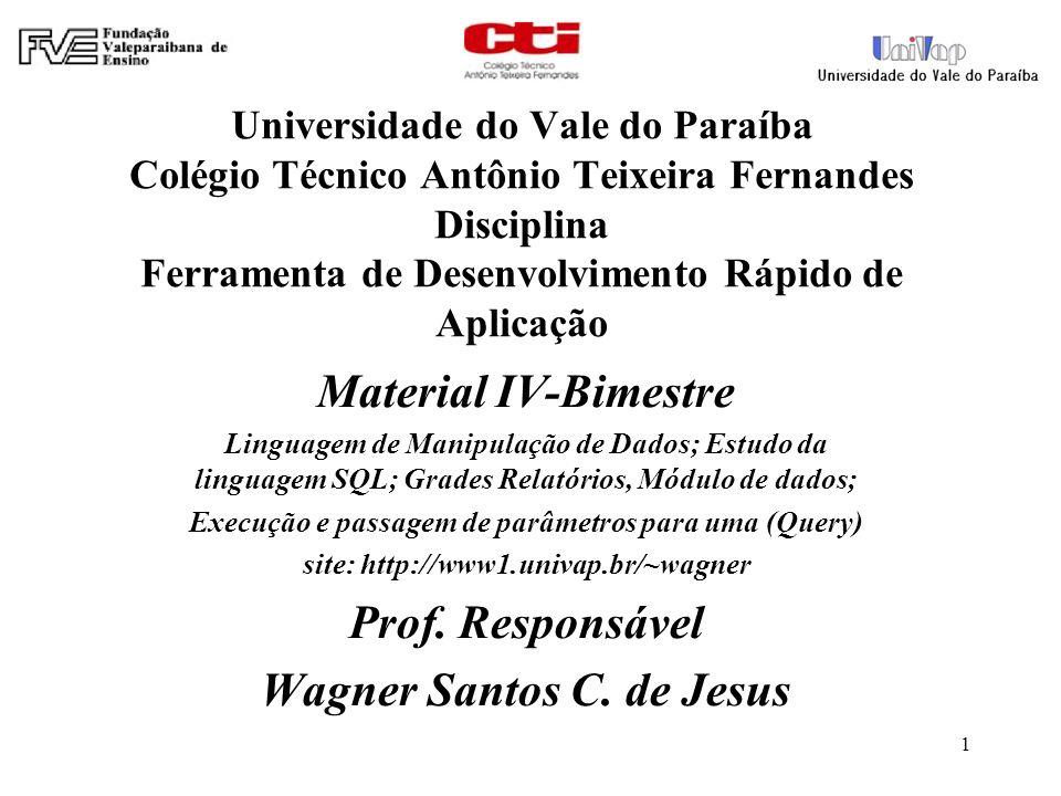 Universidade do Vale do Paraíba Colégio Técnico Antônio Teixeira Fernandes Disciplina Ferramenta de Desenvolvimento Rápido de Aplicação Material IV-Bi