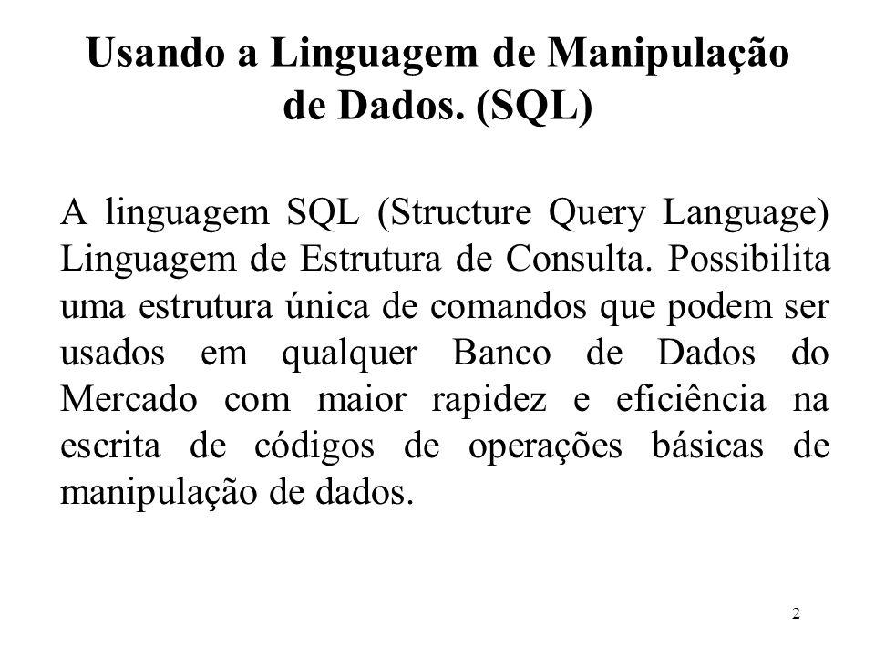 Usando a Linguagem de Manipulação de Dados. (SQL) A linguagem SQL (Structure Query Language) Linguagem de Estrutura de Consulta. Possibilita uma estru