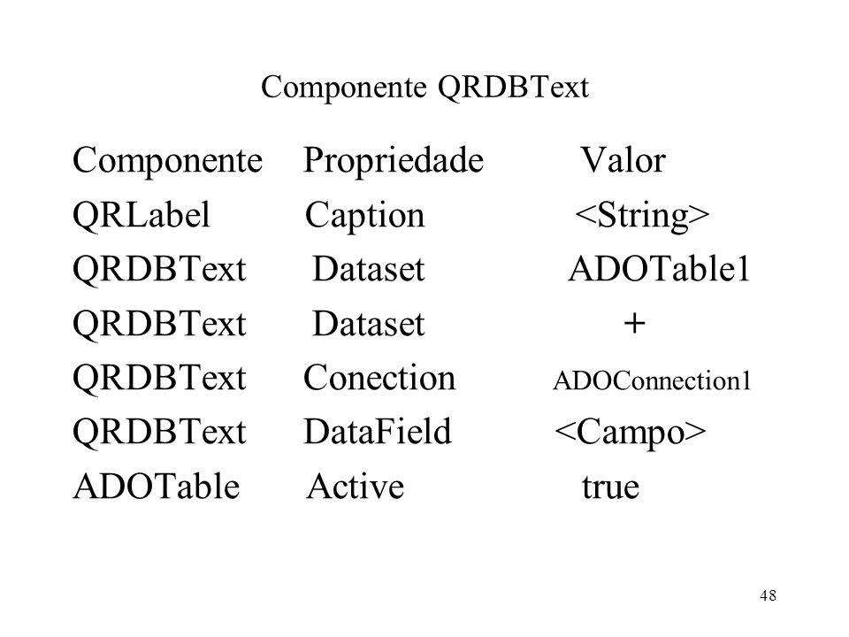 Componente QRDBText Componente Propriedade Valor QRLabel Caption QRDBText Dataset ADOTable1 QRDBText Dataset + QRDBText Conection ADOConnection1 QRDBT