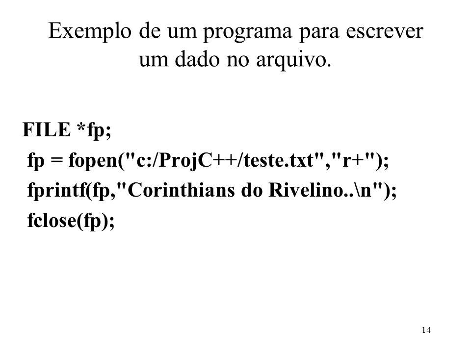 Exemplo de um programa para escrever um dado no arquivo.