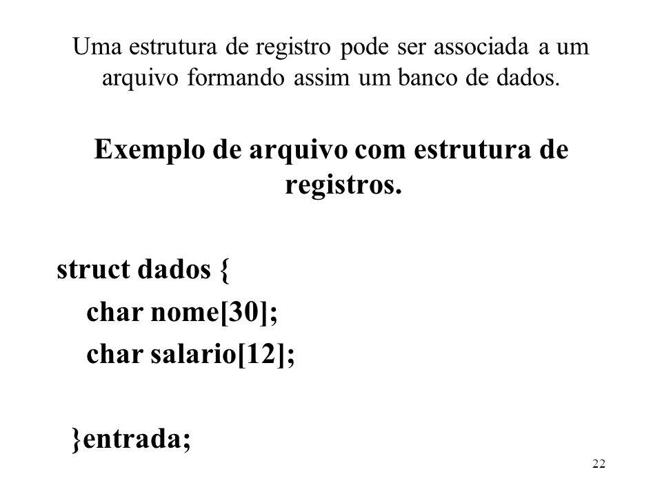 Uma estrutura de registro pode ser associada a um arquivo formando assim um banco de dados.