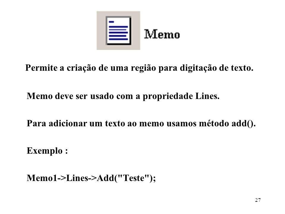 Permite a criação de uma região para digitação de texto.