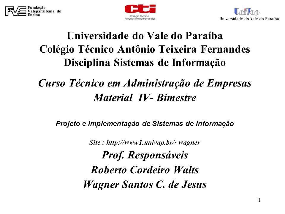 1 Universidade do Vale do Paraíba Colégio Técnico Antônio Teixeira Fernandes Disciplina Sistemas de Informação Curso Técnico em Administração de Empre
