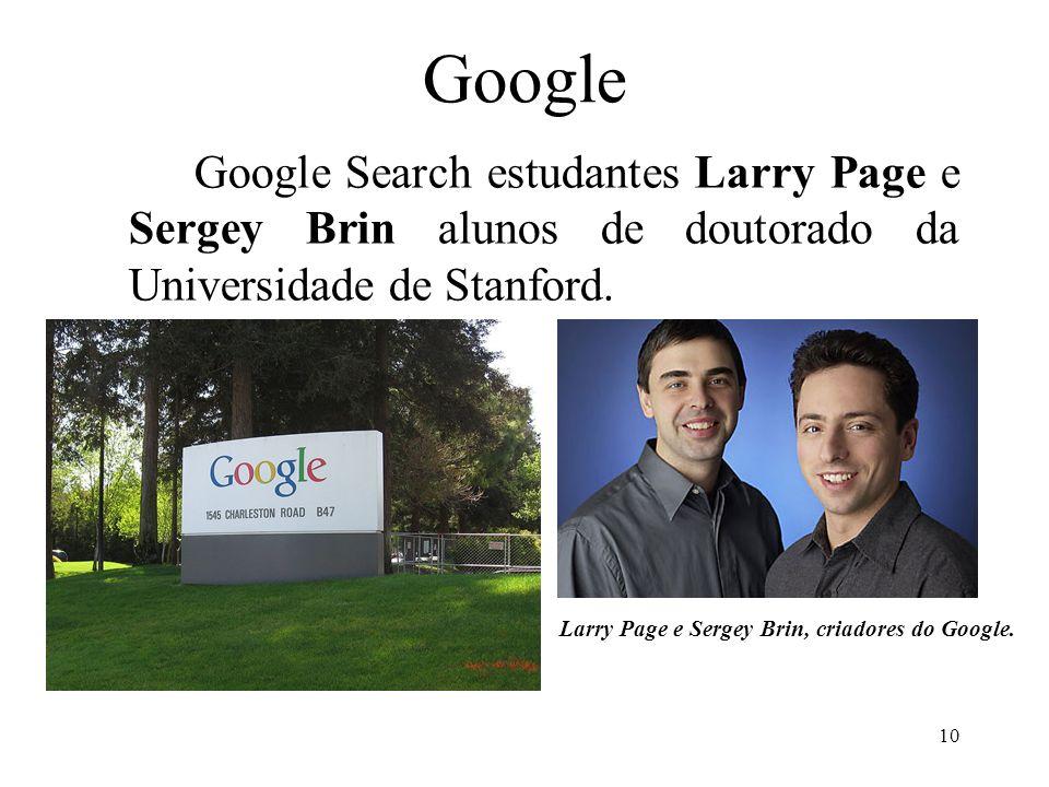 10 Google Google Search estudantes Larry Page e Sergey Brin alunos de doutorado da Universidade de Stanford. Larry Page e Sergey Brin, criadores do Go