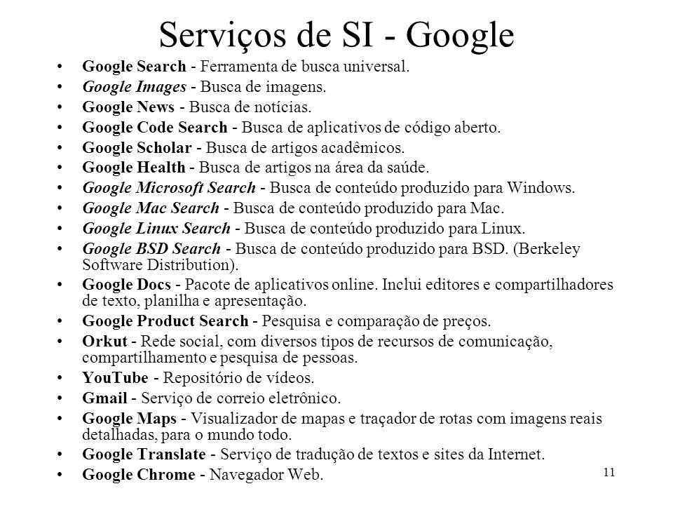 11 Serviços de SI - Google Google Search - Ferramenta de busca universal. Google Images - Busca de imagens. Google News - Busca de notícias. Google Co
