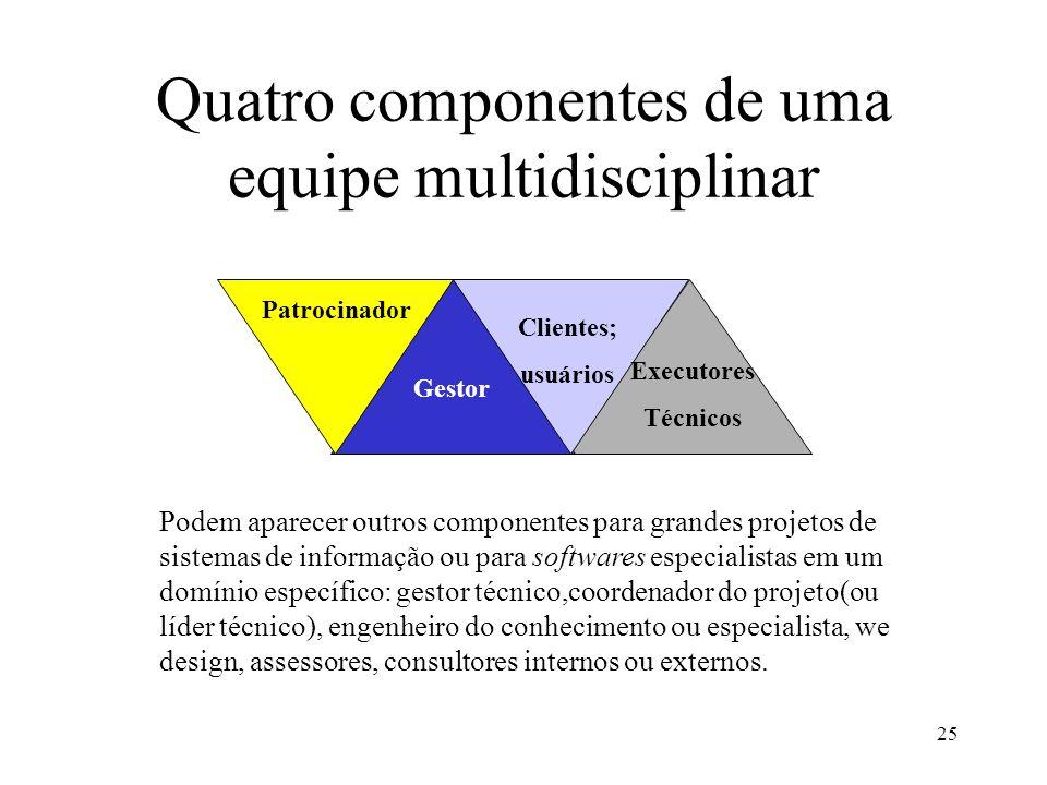 25 Quatro componentes de uma equipe multidisciplinar Gestor Clientes; usuários Executores Técnicos Patrocinador Podem aparecer outros componentes para