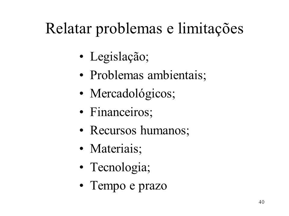 40 Relatar problemas e limitações Legislação; Problemas ambientais; Mercadológicos; Financeiros; Recursos humanos; Materiais; Tecnologia; Tempo e praz
