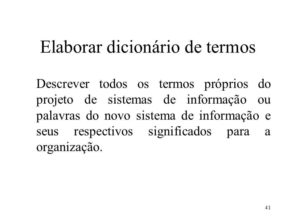 41 Elaborar dicionário de termos Descrever todos os termos próprios do projeto de sistemas de informação ou palavras do novo sistema de informação e s