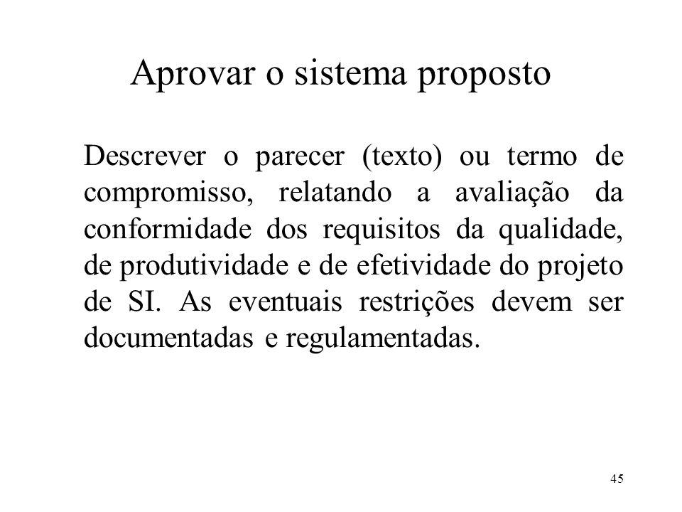 45 Aprovar o sistema proposto Descrever o parecer (texto) ou termo de compromisso, relatando a avaliação da conformidade dos requisitos da qualidade,