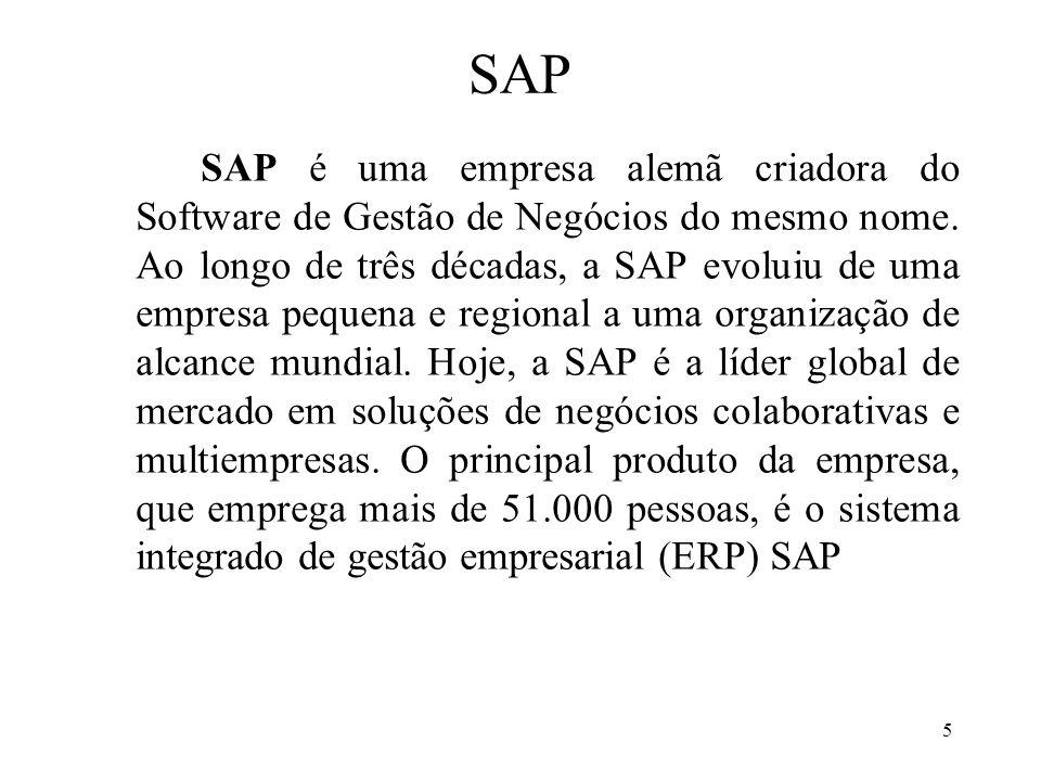 5 SAP SAP é uma empresa alemã criadora do Software de Gestão de Negócios do mesmo nome. Ao longo de três décadas, a SAP evoluiu de uma empresa pequena