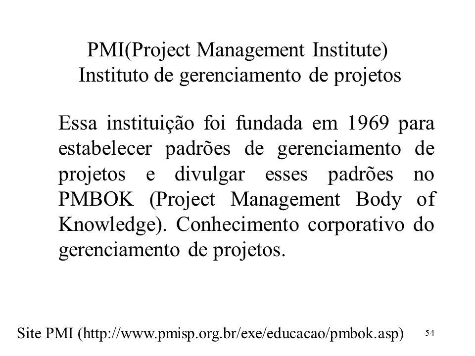 54 PMI(Project Management Institute) Instituto de gerenciamento de projetos Essa instituição foi fundada em 1969 para estabelecer padrões de gerenciam