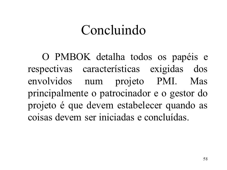 58 Concluindo O PMBOK detalha todos os papéis e respectivas características exigidas dos envolvidos num projeto PMI. Mas principalmente o patrocinador