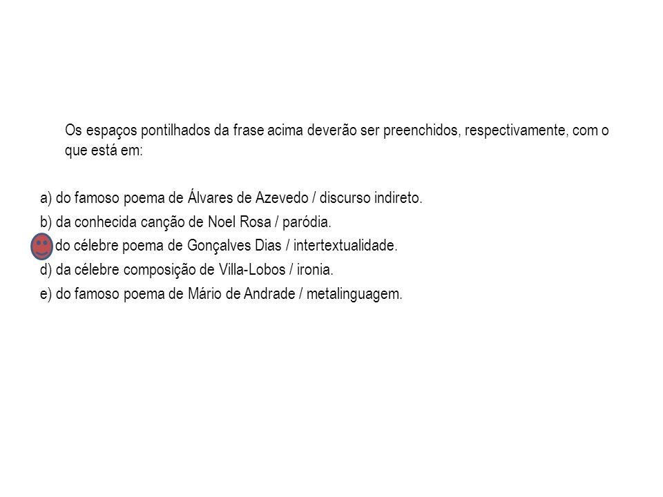 Os espaços pontilhados da frase acima deverão ser preenchidos, respectivamente, com o que está em: a) do famoso poema de Álvares de Azevedo / discurso