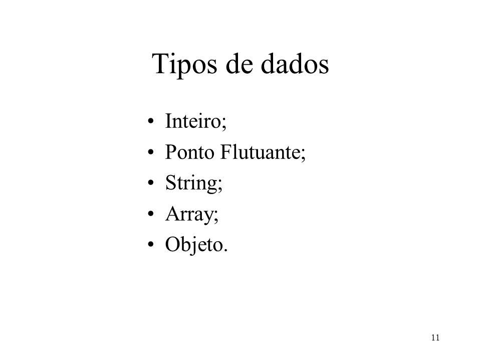 Tipos de dados Inteiro; Ponto Flutuante; String; Array; Objeto. 11