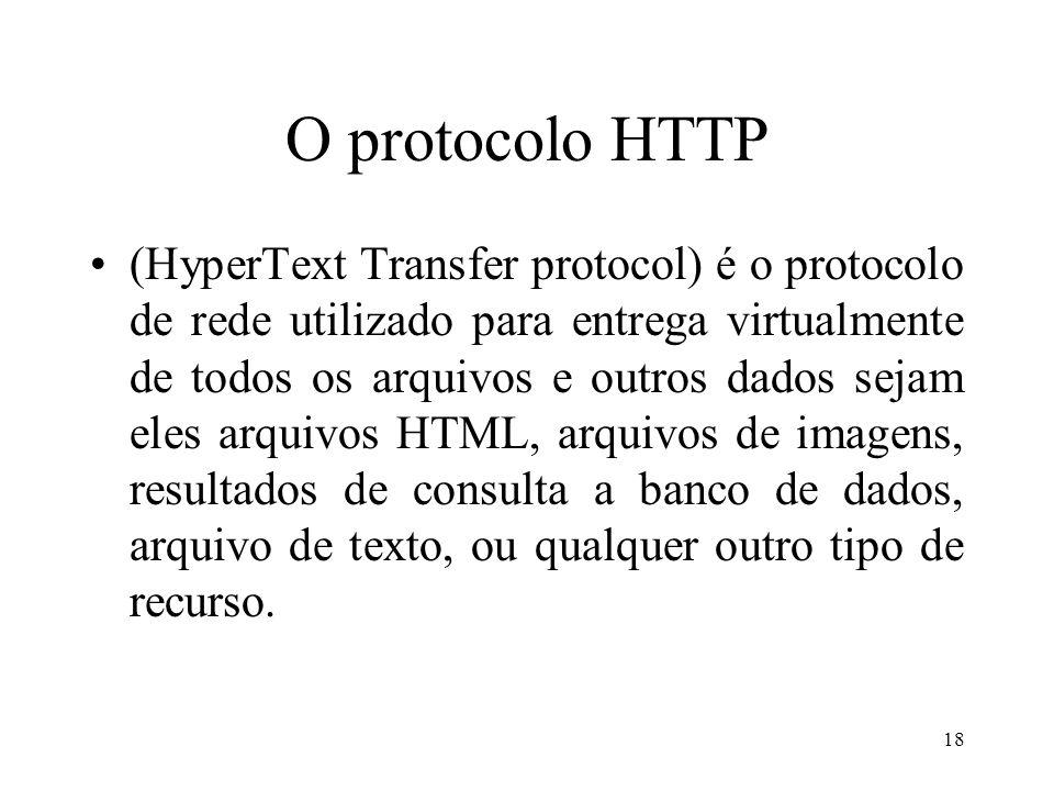 18 O protocolo HTTP (HyperText Transfer protocol) é o protocolo de rede utilizado para entrega virtualmente de todos os arquivos e outros dados sejam eles arquivos HTML, arquivos de imagens, resultados de consulta a banco de dados, arquivo de texto, ou qualquer outro tipo de recurso.