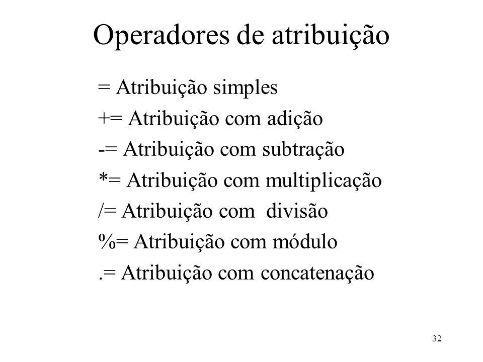 Operadores de atribuição = Atribuição simples += Atribuição com adição -= Atribuição com subtração *= Atribuição com multiplicação /= Atribuição com divisão %= Atribuição com módulo.= Atribuição com concatenação 32