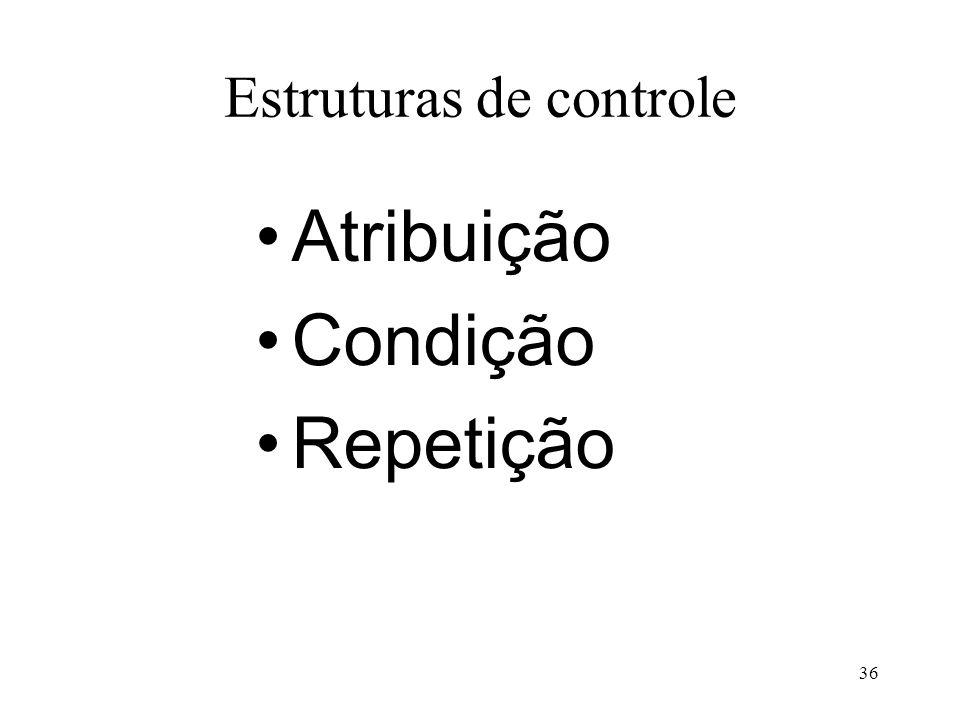 Estruturas de controle Atribuição Condição Repetição 36