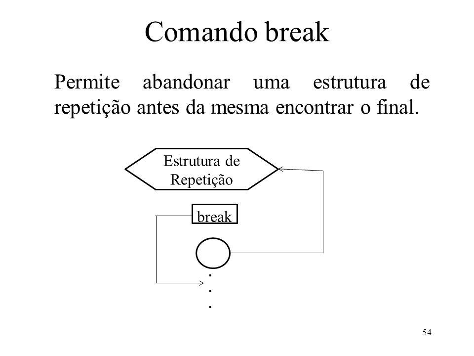 Comando break Permite abandonar uma estrutura de repetição antes da mesma encontrar o final.