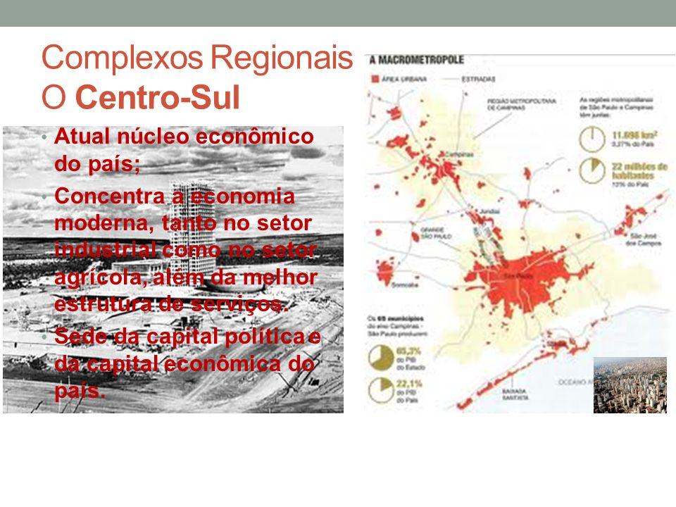 Complexos Regionais O Centro-Sul Atual núcleo econômico do país; Concentra a economia moderna, tanto no setor industrial como no setor agrícola, além