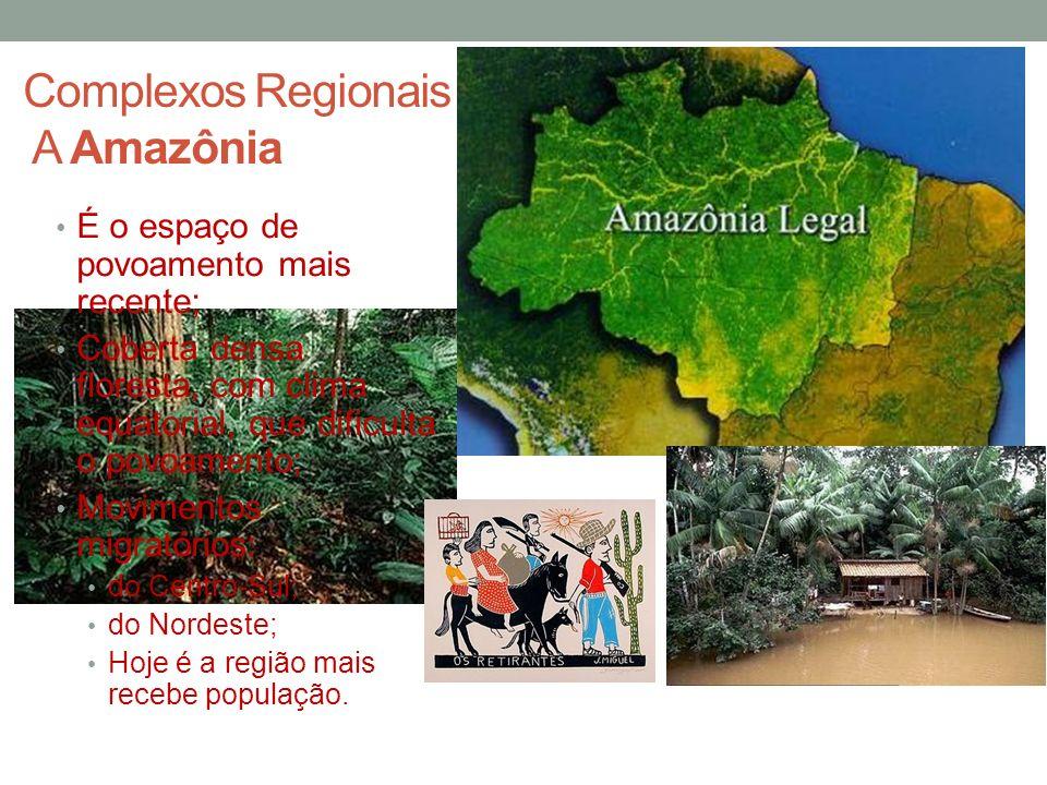 Complexos Regionais A Amazônia É o espaço de povoamento mais recente; Coberta densa floresta, com clima equatorial, que dificulta o povoamento; Movime
