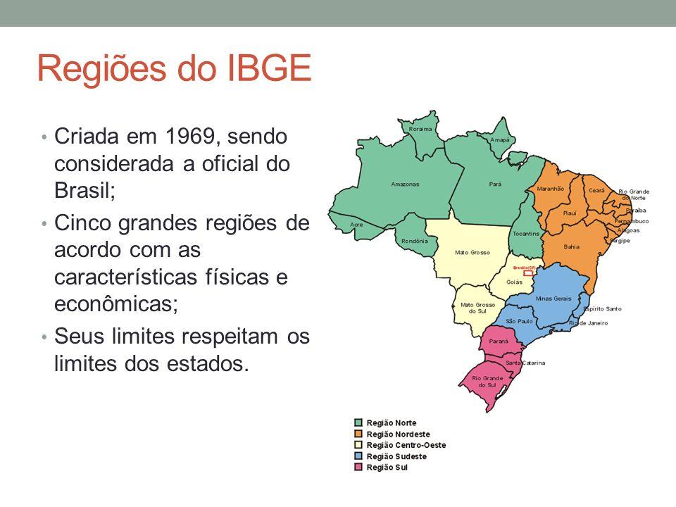 Regiões do IBGE Criada em 1969, sendo considerada a oficial do Brasil; Cinco grandes regiões de acordo com as características físicas e econômicas; Se