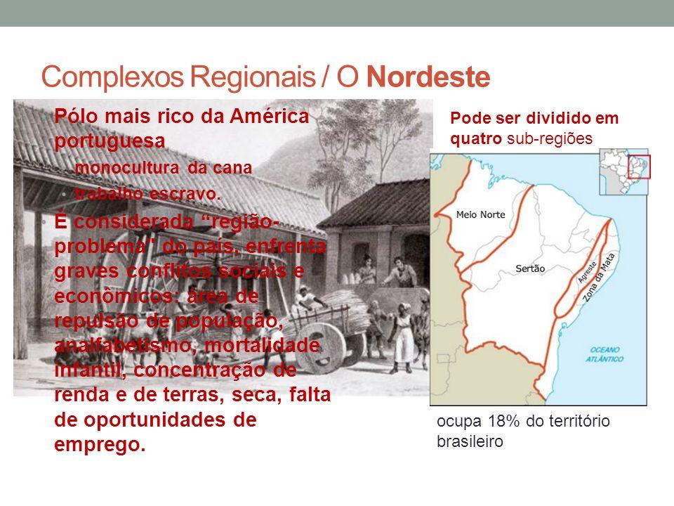 Complexos Regionais / O Nordeste Pólo mais rico da América portuguesa monocultura da cana trabalho escravo. É considerada região- problema