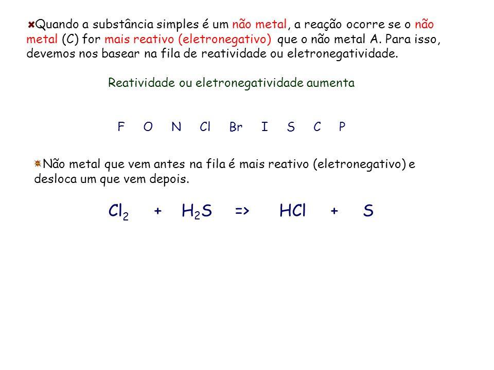 Quando a substância simples é um não metal, a reação ocorre se o não metal (C) for mais reativo (eletronegativo) que o não metal A. Para isso, devemos