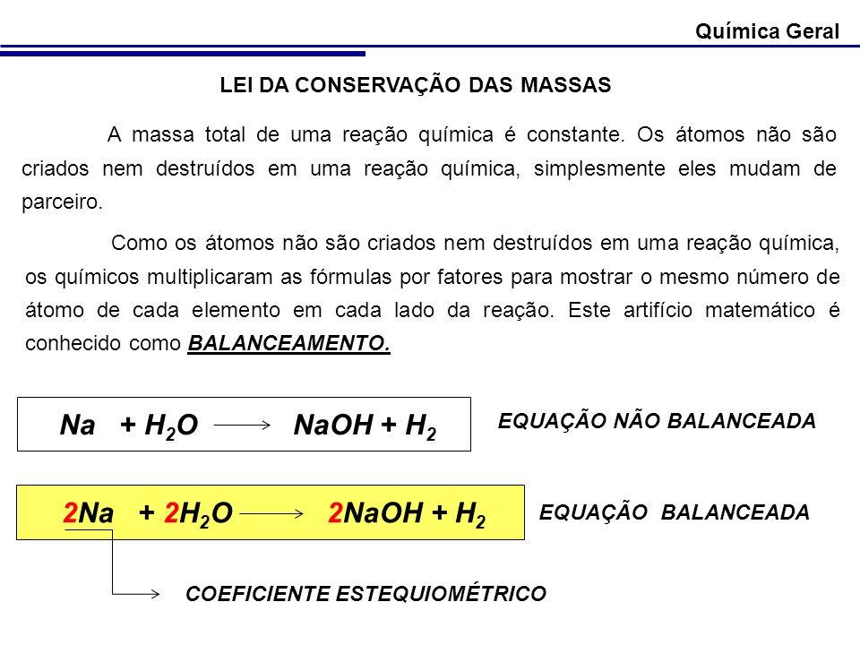 Química Geral LEI DA CONSERVAÇÃO DAS MASSAS A massa total de uma reação química é constante. Os átomos não são criados nem destruídos em uma reação qu