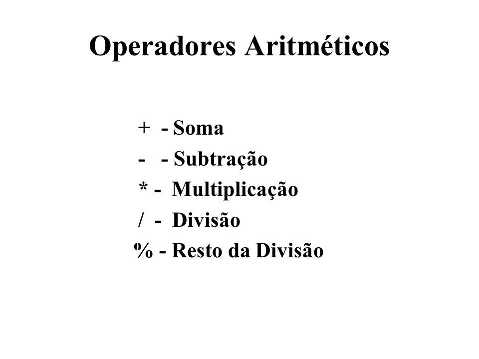 Operadores Aritméticos + - Soma - - Subtração * - Multiplicação / - Divisão % - Resto da Divisão
