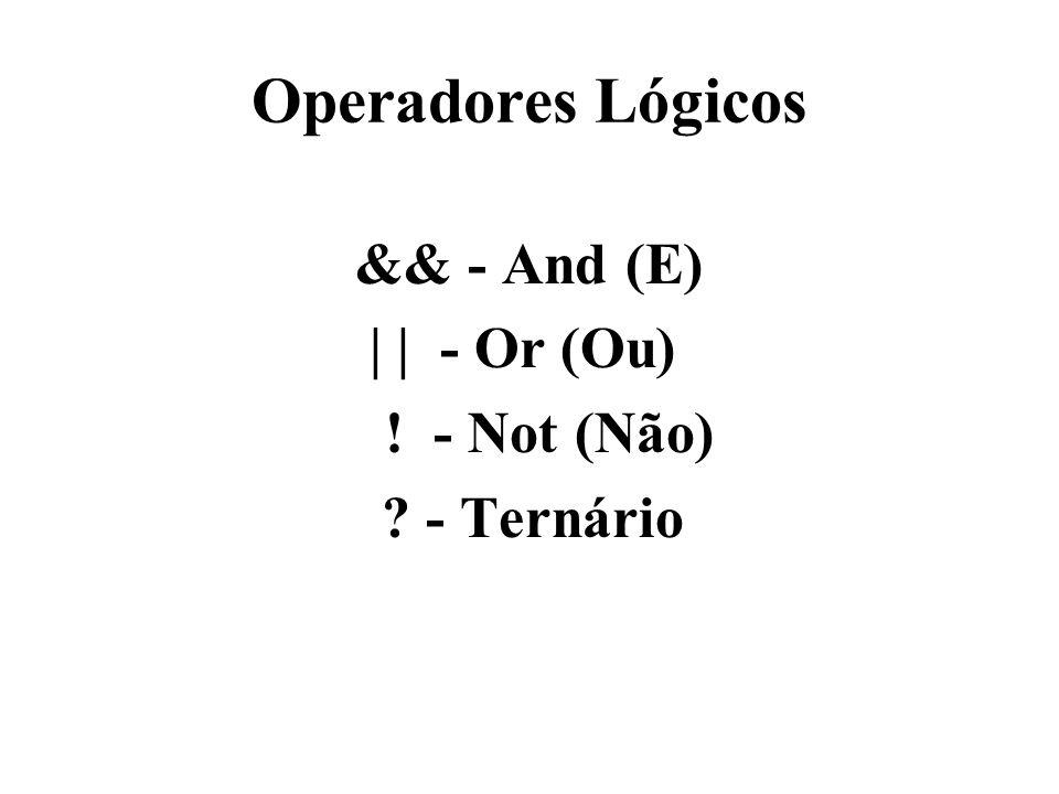 Operadores Lógicos && - And (E) | | - Or (Ou) ! - Not (Não) ? - Ternário