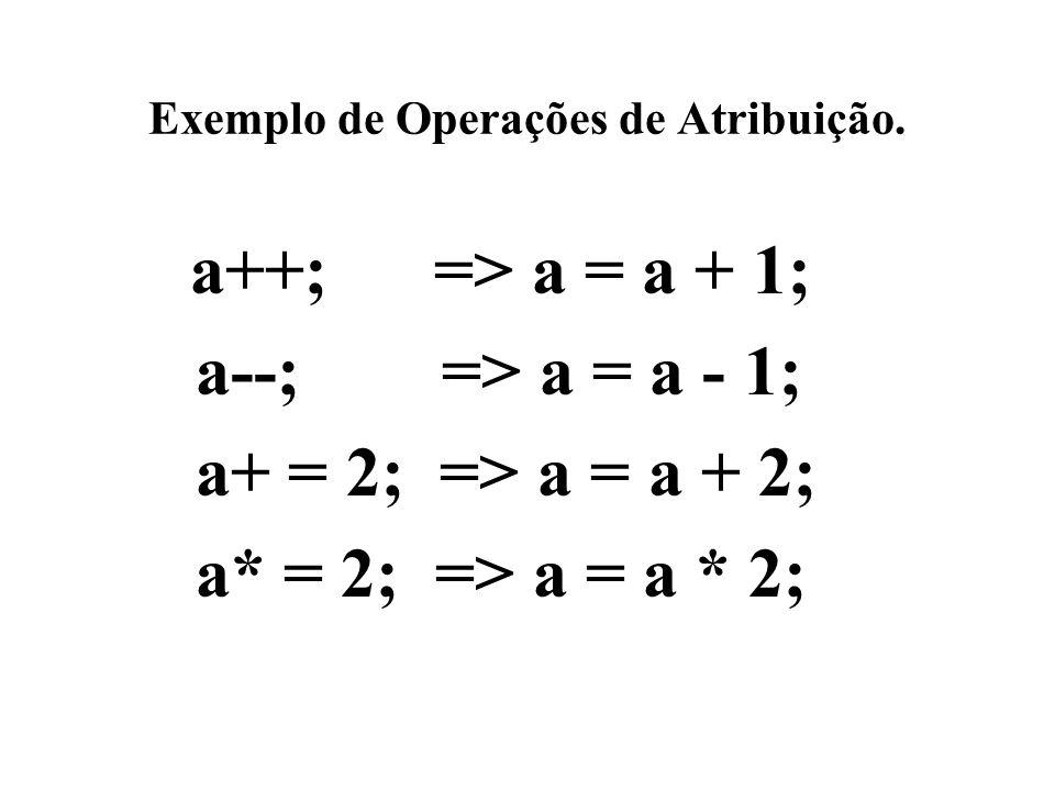 Exemplo de Operações de Atribuição. a++; => a = a + 1; a--; => a = a - 1; a+ = 2; => a = a + 2; a* = 2; => a = a * 2;