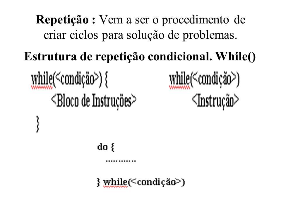 Repetição : Vem a ser o procedimento de criar ciclos para solução de problemas. Estrutura de repetição condicional. While()