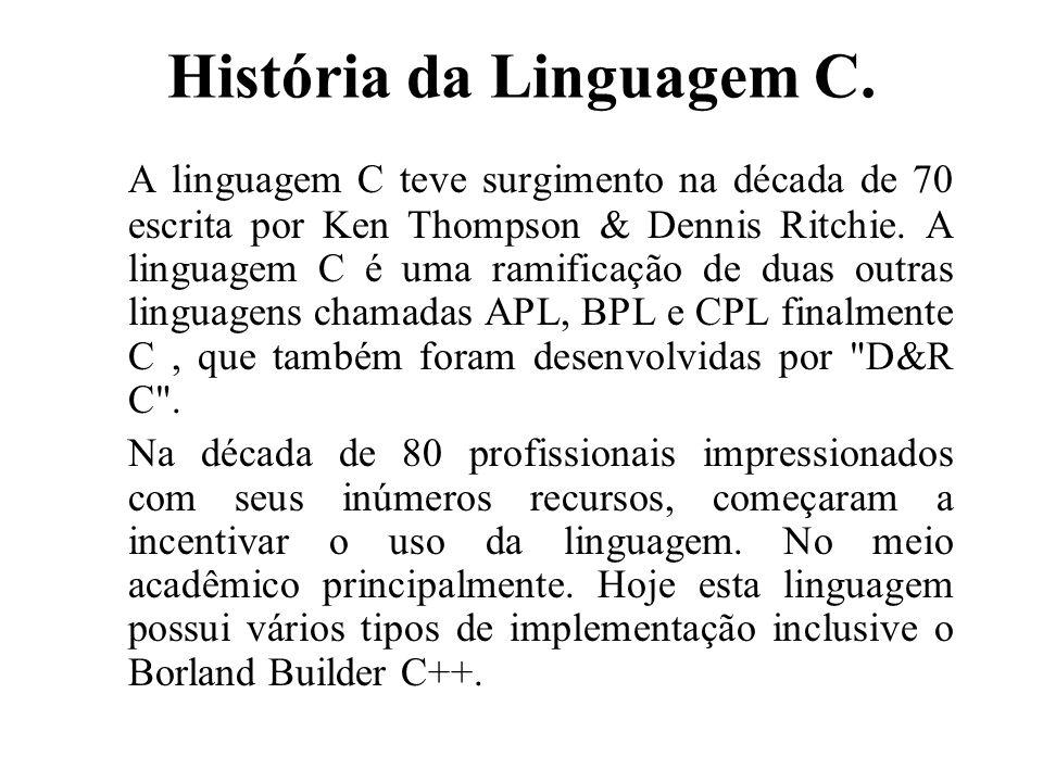 História da Linguagem C. A linguagem C teve surgimento na década de 70 escrita por Ken Thompson & Dennis Ritchie. A linguagem C é uma ramificação de d