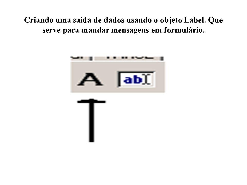 Criando uma saída de dados usando o objeto Label. Que serve para mandar mensagens em formulário.