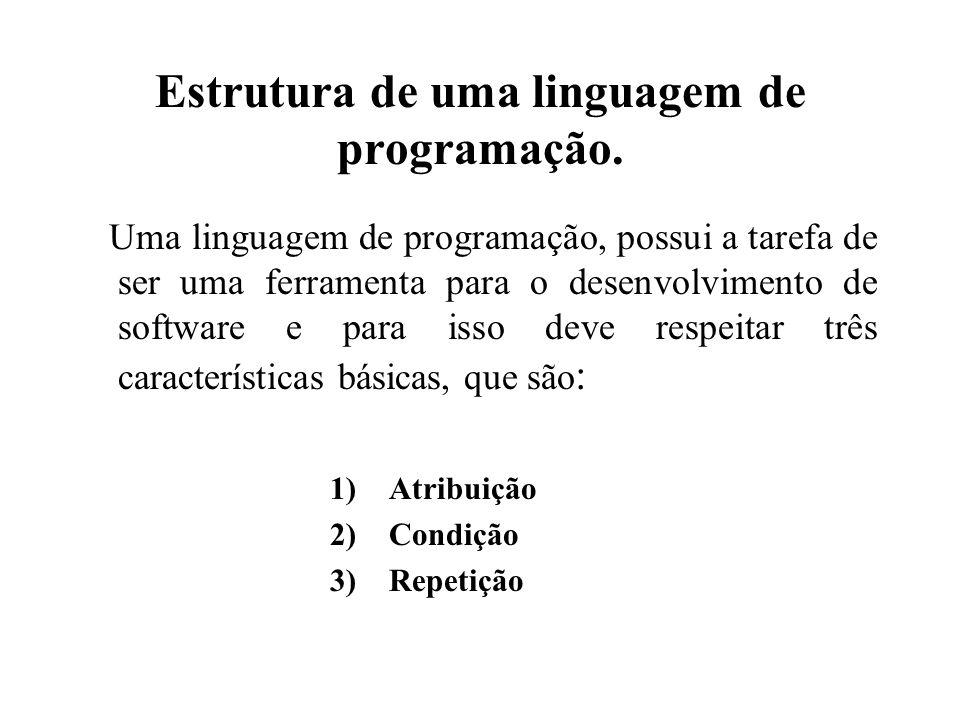 Estrutura de uma linguagem de programação. Uma linguagem de programação, possui a tarefa de ser uma ferramenta para o desenvolvimento de software e pa