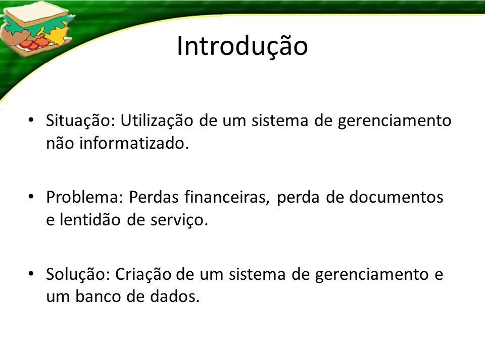 Requisitos 1.Gerenciar: Informações básicas; Sistema de pedidos; Arquivos financeiros.