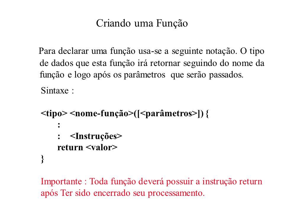 Criando uma Função Para declarar uma função usa-se a seguinte notação.