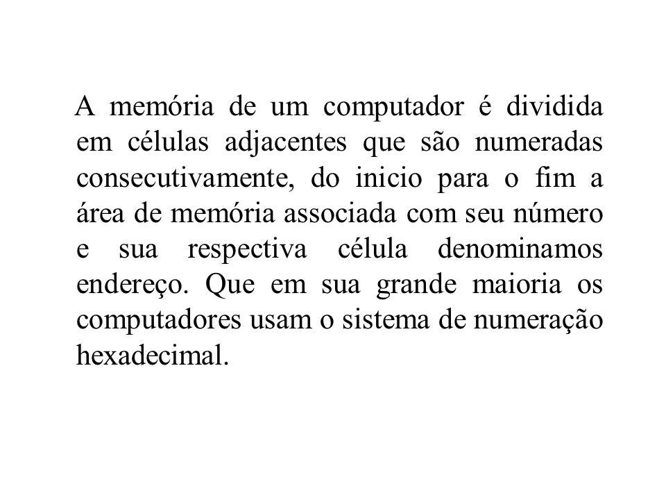 A memória de um computador é dividida em células adjacentes que são numeradas consecutivamente, do inicio para o fim a área de memória associada com seu número e sua respectiva célula denominamos endereço.