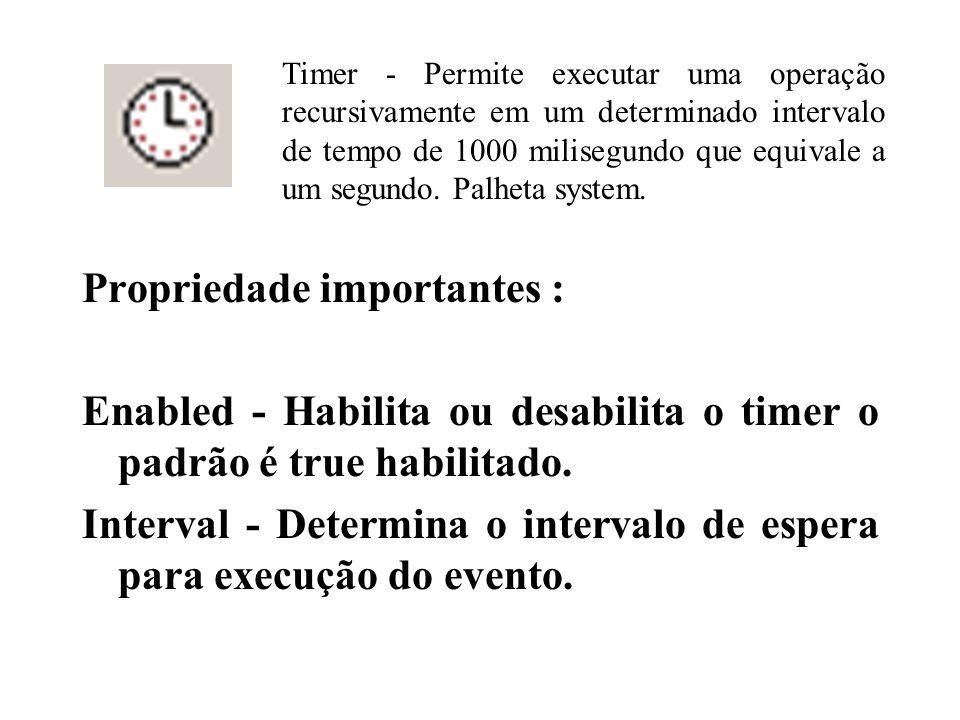 Propriedade importantes : Enabled - Habilita ou desabilita o timer o padrão é true habilitado.