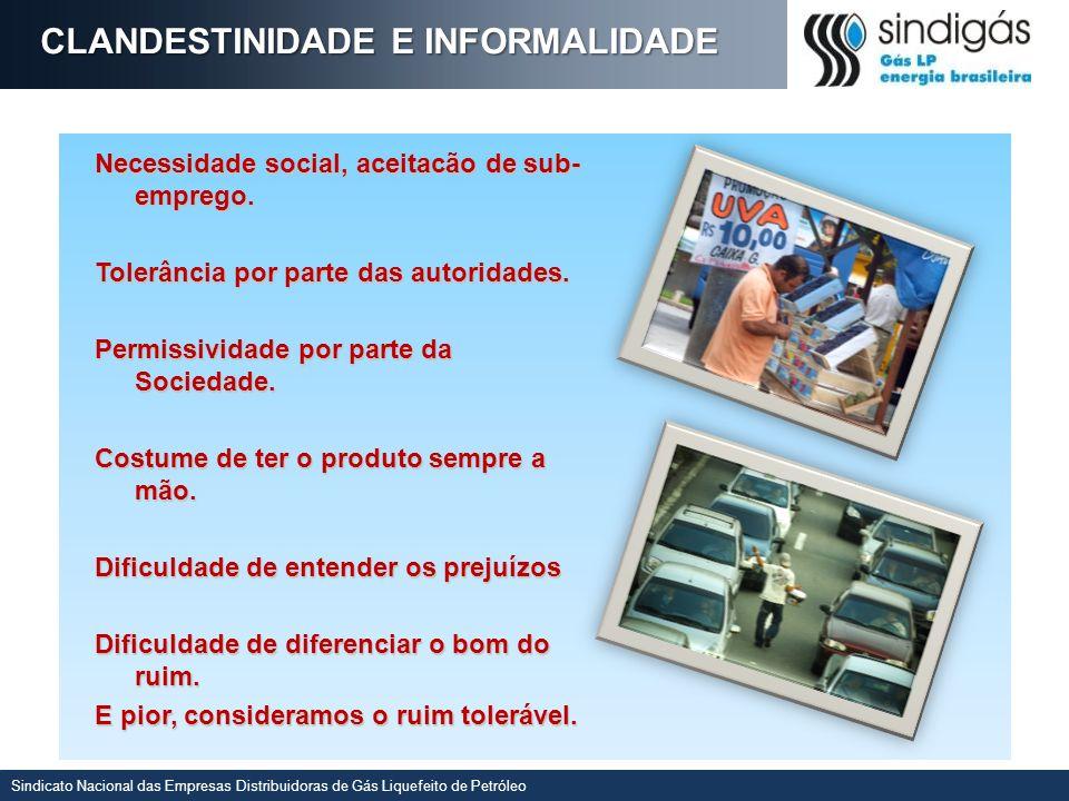 Sindicato Nacional das Empresas Distribuidoras de Gás Liquefeito de Petróleo CLANDESTINIDADE E INFORMALIDADE Necessidade social, aceitacão de sub- emprego.