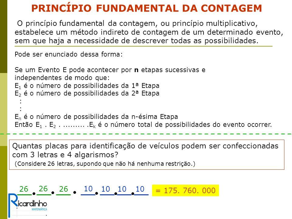 Combinação Simples Este exemplo é o típico caso, onde agrupamentos com elementos distintos, não se alteram mudando-se apenas a ordem de posicionamento dos elementos no grupo.