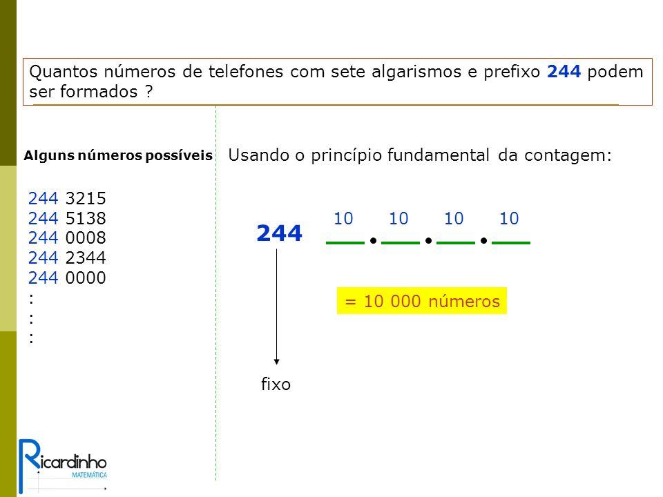 Quantos números de telefones com sete algarismos e prefixo 244 podem ser formados .