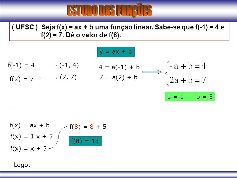 ( UFSC ) Seja f(x) = ax + b uma função linear. Sabe-se que f(-1) = 4 e f(2) = 7. Dê o valor de f(8). f(-1) = 4 f(2) = 7 (-1, 4) (2, 7) y = ax + b 4 =