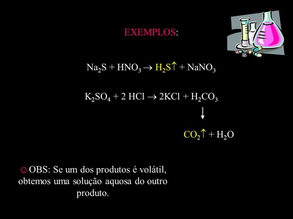 QUANDO UM DOS PRODUTOS É INSOLÚVEL REGRAS GERAIS DE SOLUBILIDADE: - Todos os ácidos inorgânicos comuns são solúveis; -Somente as bases com cátion da família 1A, NH 4 +, Ca 2+, Sr 2+ e Ba 2+ são solúveis, as demais são insolúveis; - Todos os sais com cátion da família 1A e NH 4 + e que tenham os ânions nitrato (NO 3 - ) ou clorato (ClO 3 - ) são solúveis sem exceções.