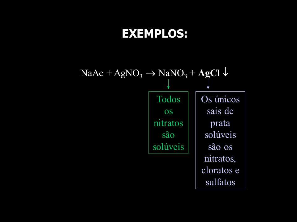 Ag 2 SO 4 + NaNO 3 Na 2 SO 4 + AgNO 3 Todos os sulfatos são solúveis, exceto os de Ca 2+, Ba 2+, Sr 2+ e Pb 2+ Todos os nitratos são solúveis Se todos os produtos são solúveis e nenhum deles é volátil, logo a reação não ocorre na prática