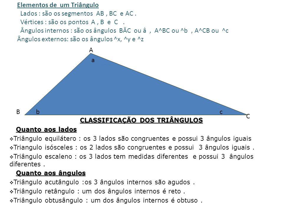 DEFINIÇÃO DEFINIÇÃO – 1.- Dados três pontos A,B e C não colineares, chamamos de triângulo a reunião dos segmentos AB, AC e BC. 2.- Polígono de 3 lados