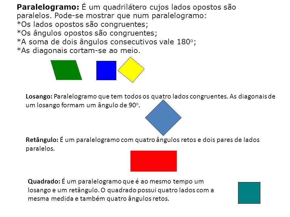 Paralelogramo: É um quadrilátero cujos lados opostos são paralelos.